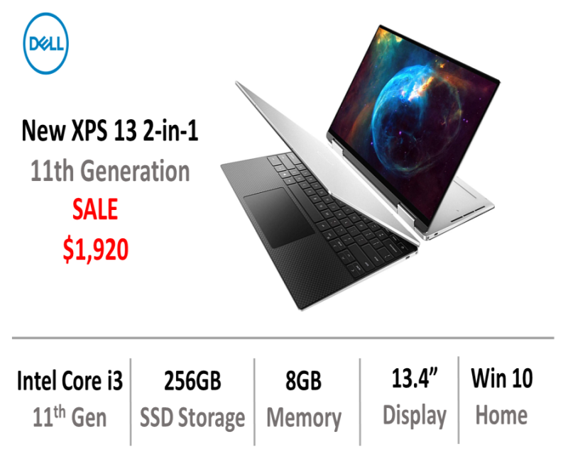 New XPS 13 2-in-1 (Core i3-1115G4, 8GB RAM, 256GB SSD, Windows 10 Home) - Platinum Silver