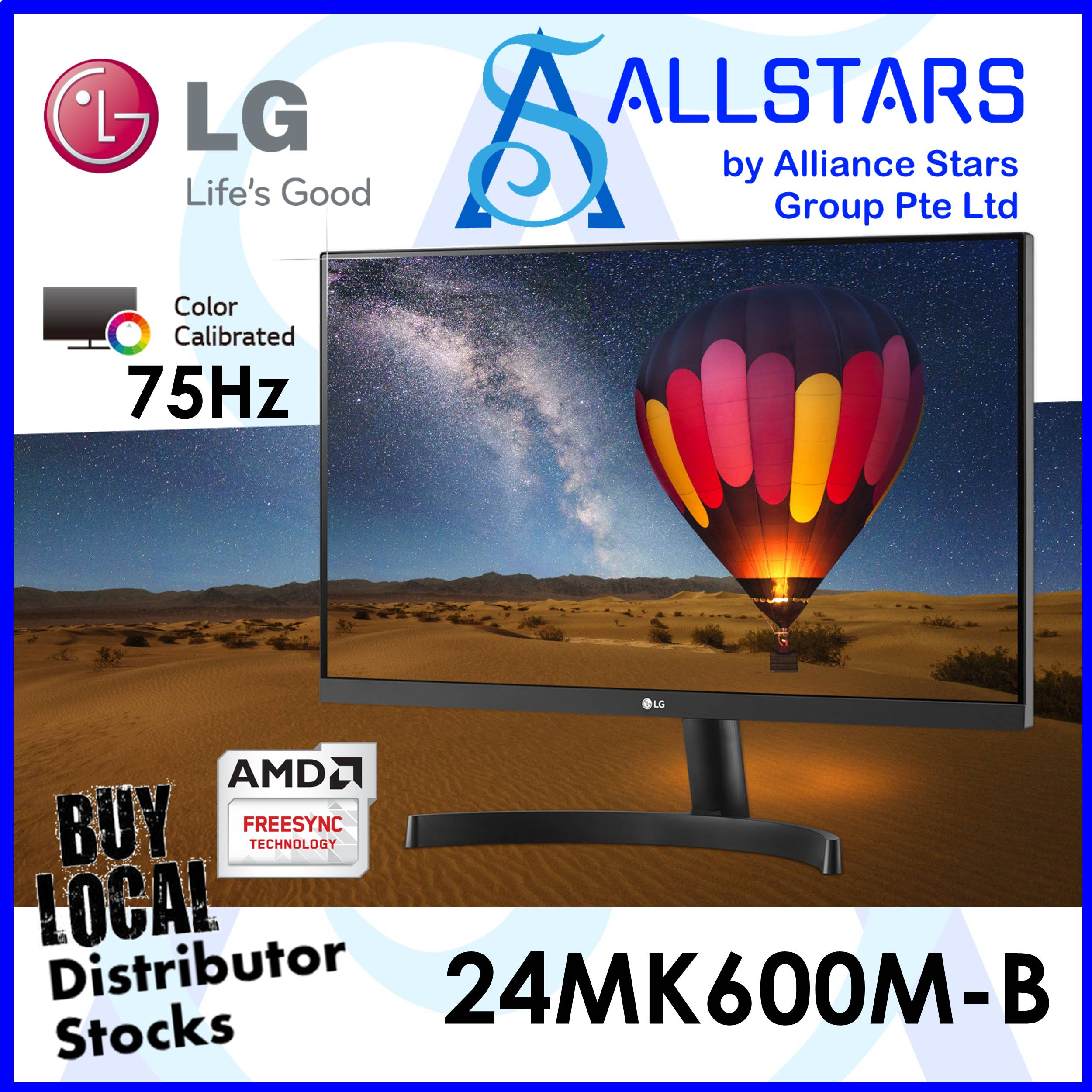 (allstars Promo : We Are Back / Monitor Promo) Lg 23.8 Inch / 24 Inch Class 24mk600 / 24mk600m-B Full Hd Ips Monitor (hdmix2 / Vga) / Color Calibrated / 75hz / Freesync (warranty 3years On-Site By Lg Singapore).