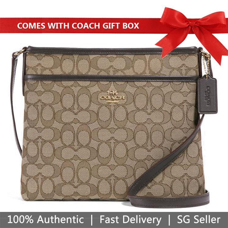 6569d6aeeff8b Coach Crossbody Bag In Gift Box File Crossbody In Signature Jacquard Handbag  Khaki / Brown /