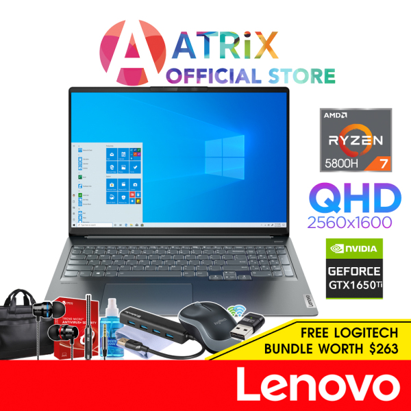 【Same Day Delivery】Lenovo IdeaPad 5 Pro 16ACH6 82L50074SB〖Free MS Office〗16 16:10 2K QHD (2560x1600) 350nits | AMD Ryzen 7 5800H | GeForce GTX 1650 | 16GB DDR4-3200 | 512GB SSD | 2Y Lenovo ADP Warranty