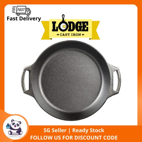 Lodge 10.25 Inch Seasoned Cast Iron Bakers Skillet Pan, Black Singapore