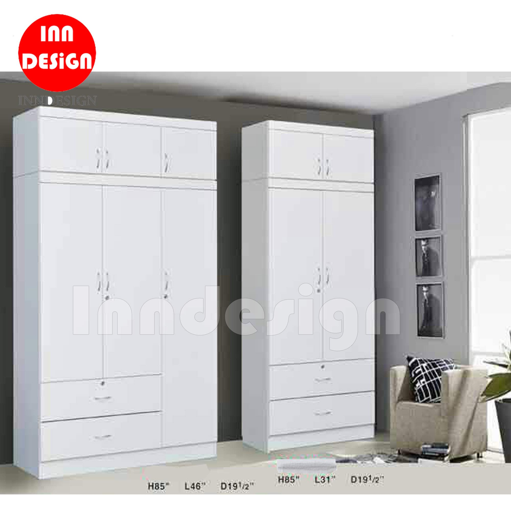 Carlly 2/3 Doors Wardrobe with Top (White)