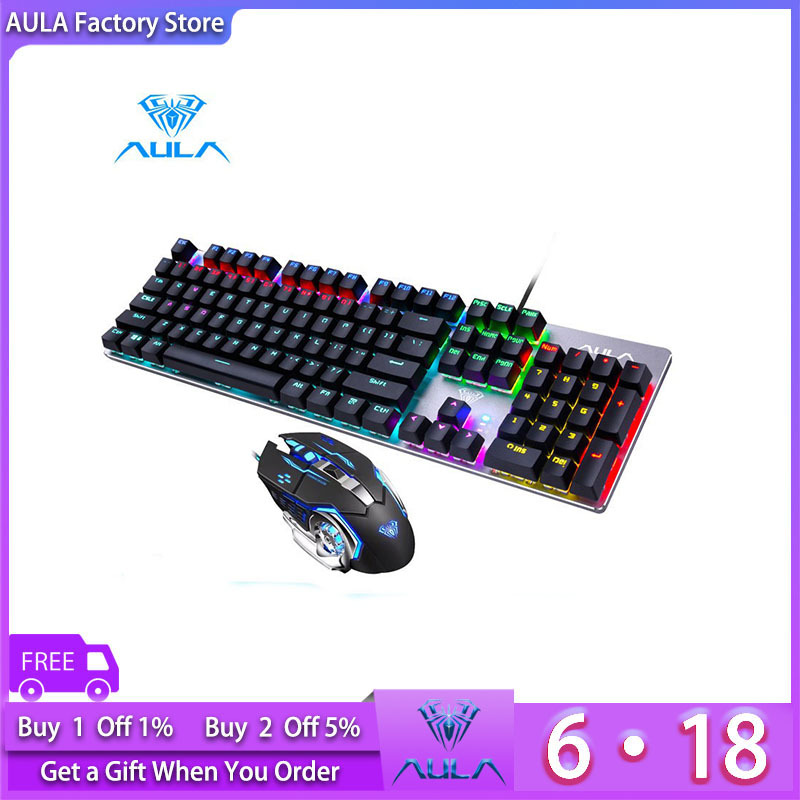 AULA Factory Store Mechanical Gaming Keyboard and Gaming Mouse Combination-Black/Blue Switch (F2068+S20) Singapore