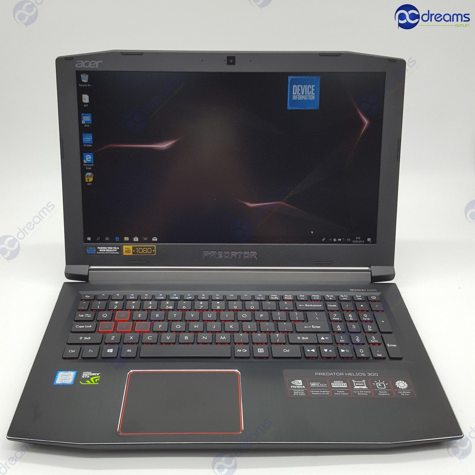 Acer Predator Helios 300 Ph315-51-71qv I7-8750h/8gb/128gb Ssd+1tb Hdd/gtx1060 [premium Refreshed] By Pc Dreams Outlet.
