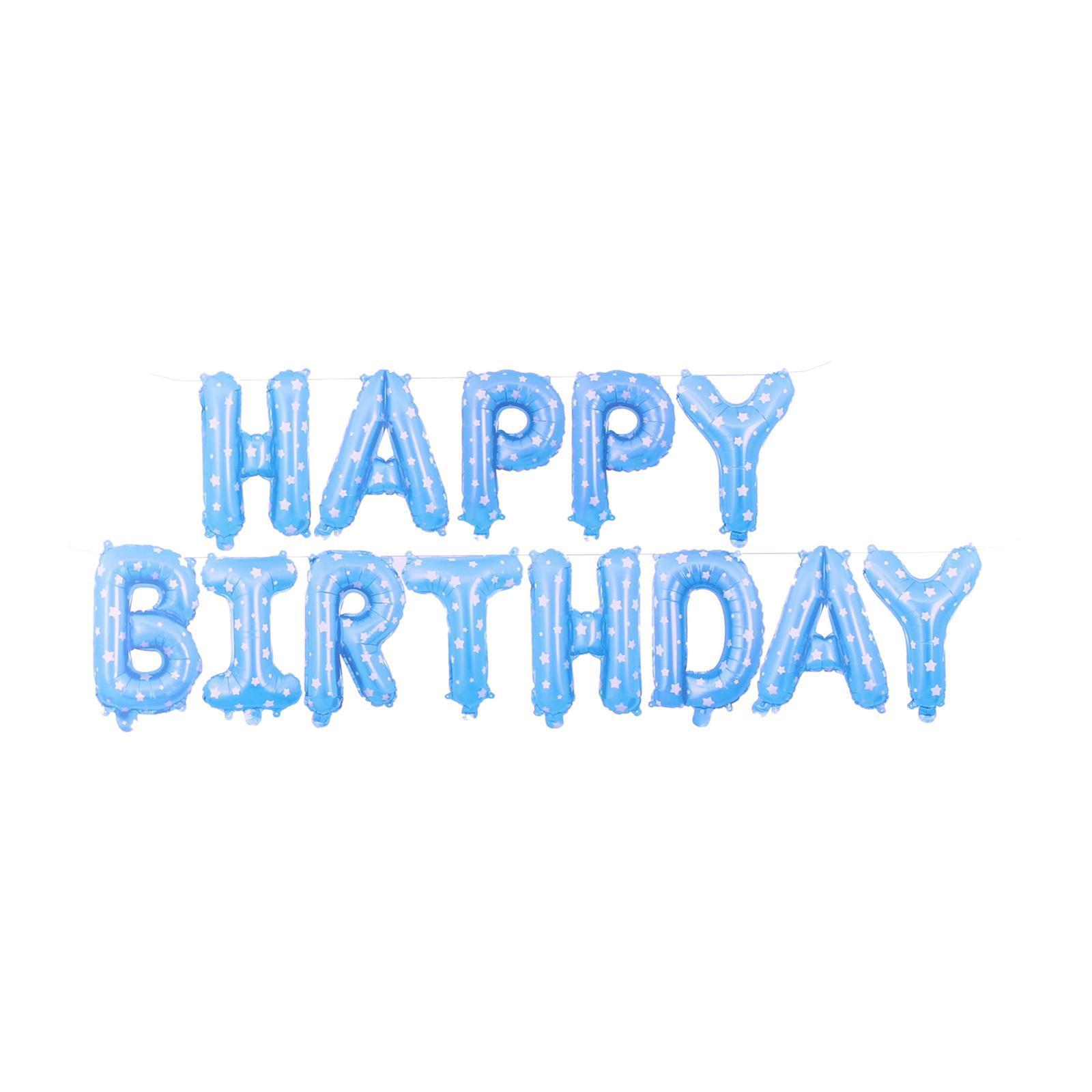 Partyforte Happy Birthday Airfilled Balloon - Blue Polka Dots (16 Inch)