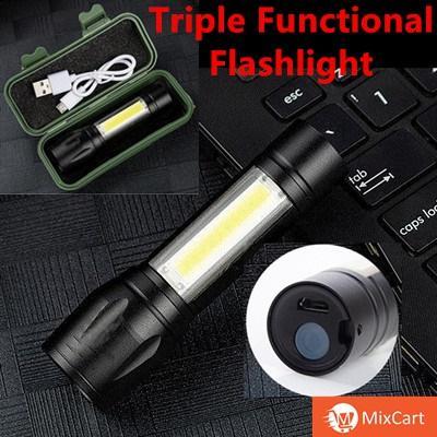MixCart USB Rechargeable Torchlight XPE+COB Flashlight Power Light Outdoor mini Waterproof flashlight Pocket 3 Modes Emergency Torch Lamp