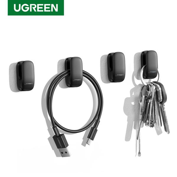 Ugreen Organizer Hooks Hangers 4pcs Fastener Clip for Car Home Office Key Bag Headphone USB Charger Cable Management Hook Holder