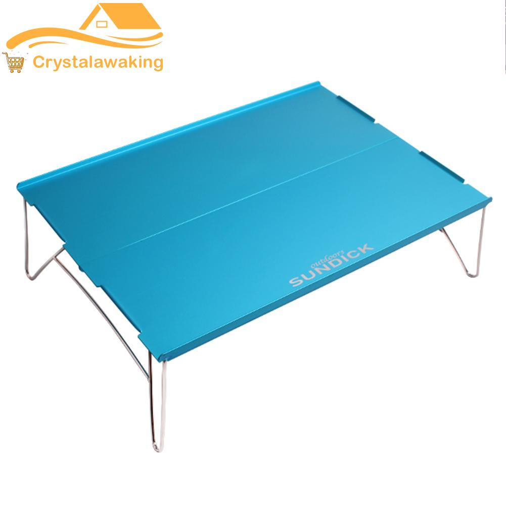 Outdoor Camping Picnic Folding Table Aluminum Portable BBQ Tea Table Blue