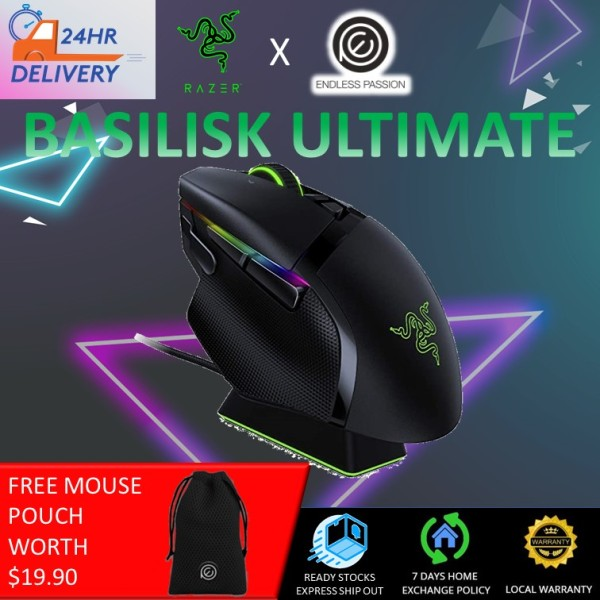 Razer Basilisk Ultimate HyperSpeed Wireless Gaming Mouse: Fastest Gaming Mouse Switch - 20K DPI Optical Sensor - Chroma RGB Lighting - 11 Programmable Buttons - 100 Hr Battery - Classic Black [24 hours delivery]