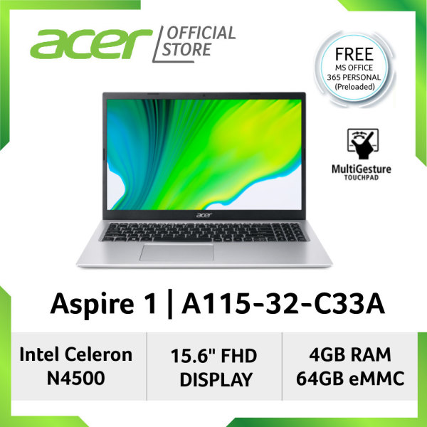 [Latest Model] Acer Aspire 1 A115-32-C33A(Silver) 15.6-Inch FHD Display With Preloaded Microsoft Office 365 Personal