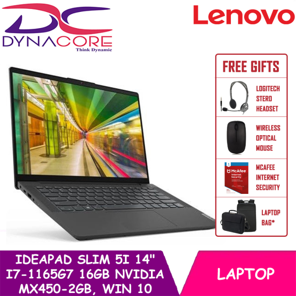 【DELIVERY IN 24 HOURS】DYNACORE - Lenovo IdeaPad Slim 5i 82FE0048SB 14.0 FHD IPS 300nits | i7-1165G7 | MX450-DDR6 Graphics | 16GB DDR4 | 3Yrs Lenovo onsite warranty | WIN 10