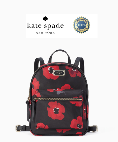 Kate Spade Wilson Road Poppy Small Bradley Backpack (Black/Red)