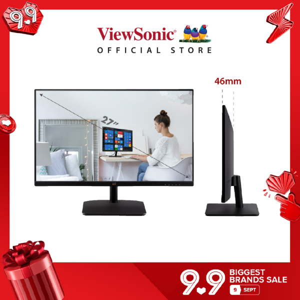 """[Best Seller] ViewSonic VA2732-H (no audio) / VA2732-MH (built in speakers) 27"""" 1080p 75Hz frameless IPS Monitor with eye care features (HDMI cable included)"""