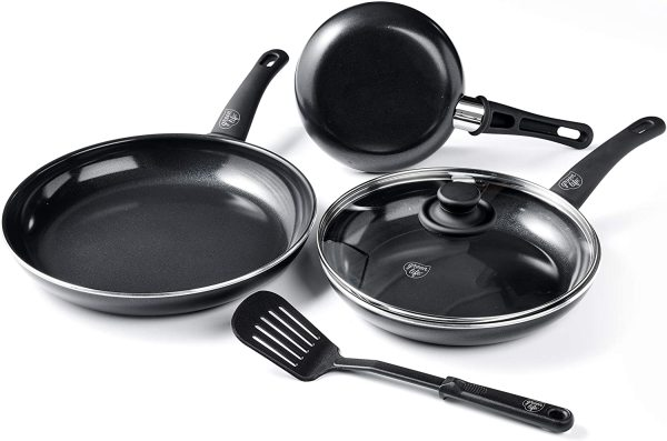 GreenLife Soft Grip Diamond Healthy Ceramic Nonstick 5 Piece Frying Fry Pan Frypan Skillet  Cookware Pots and Pans Set Singapore