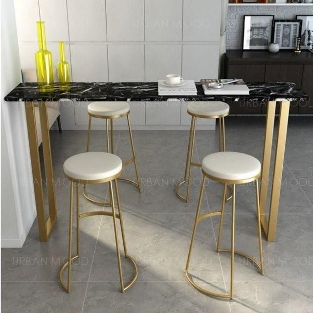 KRISTOFF Contemporary Marble Top Bar Table & Velvet Stool