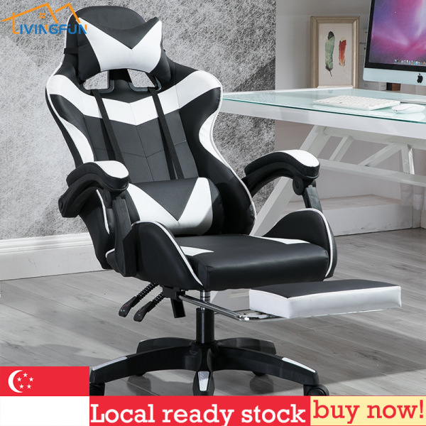 2020 latest version Gaming Chair Racing Style Ergonomic High Back Computer Chair with Height Adjustment, Headrest,Lumbar Support and Legrest E-Sports Swivel Chair