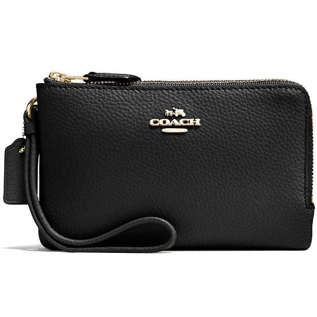 Coach Double Corner Zip Wallet In Polished Pebble Leather Wristlet Gold / Black # F87590