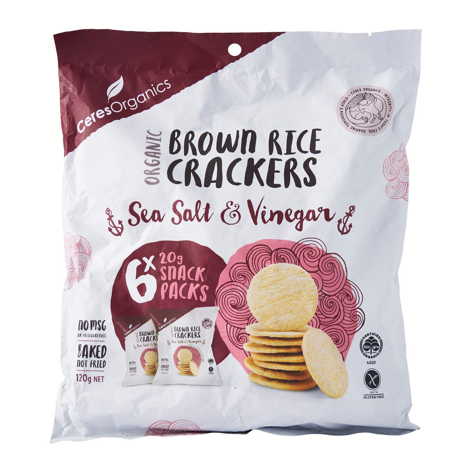 Brown Rice Crackers Snack Packs Sea Salt and Vinegar - by Optimo Foods