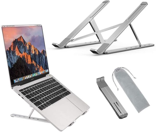 Adjustable Aluminum Laptop Stand for Laptops iPad Tablet - 6 Lvl Height Adjustment Foldable Portable