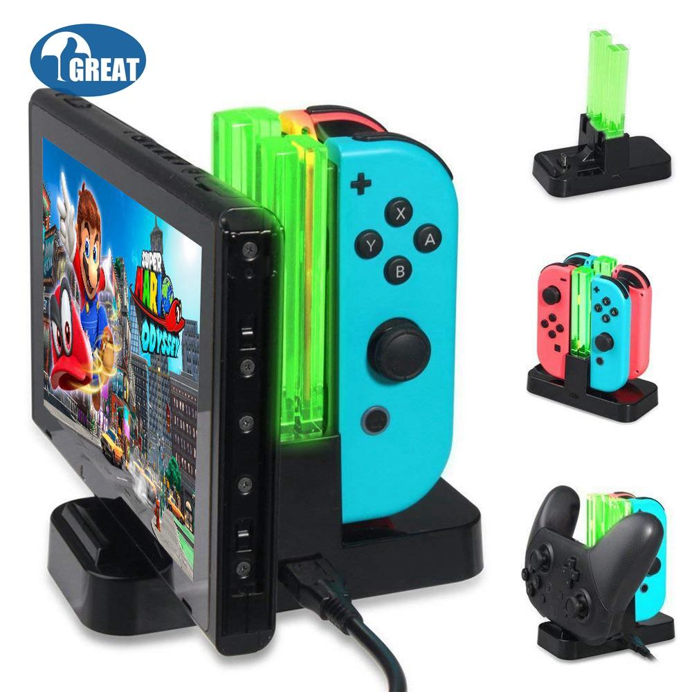 [in Stock&fast Shipping] Goodgreat Charger For Nintendo Switch Pro Controllers Handle And Joy-Cons,charging Stand For Nintendo Switch With 2 Type-C Usb Ports And 1 Type-C Usb Charger Cable By Good&great.