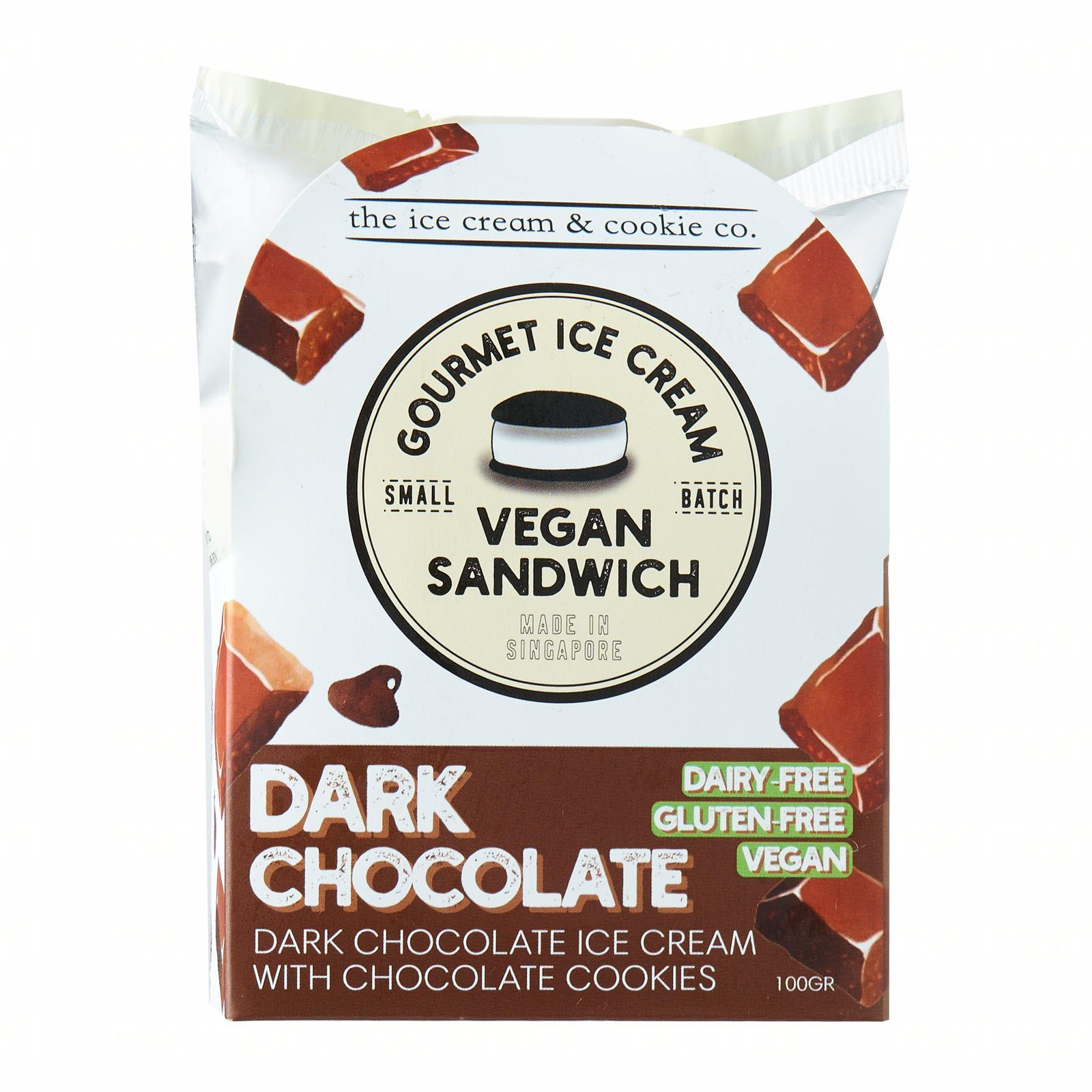 The Ice Cream & Cookie Co. Vegan Dark Chocolate Ice Cream Sandwich (Vegan Dairy-Free and Gluten-Free) Ice Cream