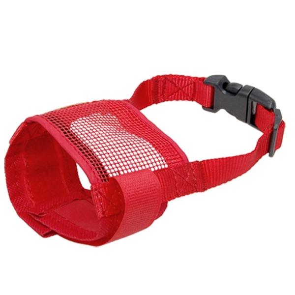 Dog Pet Anti Bark Red Chew Mesh Muzzle Mask Size S