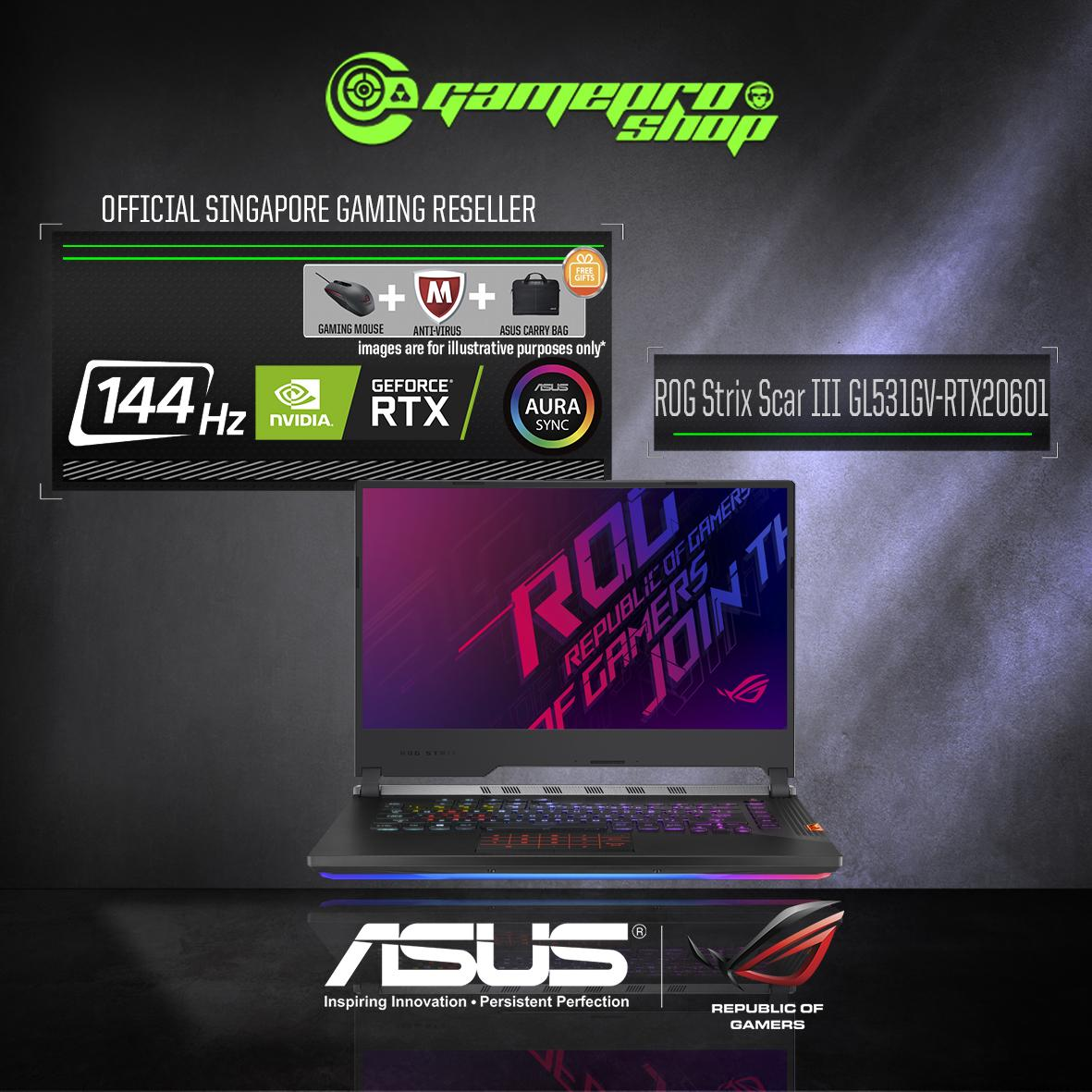 9th Gen ASUS ROG Strix SCAR III GL531GV - RTX 2060 ( I7-9750H / 16GB / 512GB SSD ) 15.6 WITH 144Hz GAMING LAPTOP *COMEX PROMO*