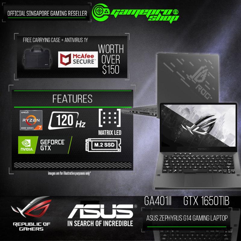 [Express Delivery] ASUS ROG Zephyrus G14 GA401II-GTX1650T1 (AMD R7 -4800HS/16GB 3200 DDR4/1TB SSD/NVIDIA GTX 1650Ti 4GB GDDR6/14.0FHD 120Hz/W10 ) GA401II-GTX1650T1 (2Y)