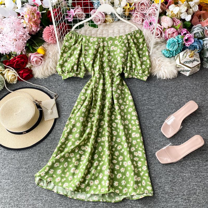 Hoa Cúc Anh Trễ Vai Quây Hoa Nhỏ Đầm Nữ Mùa Hè Kiểu Pháp Phong Cách Retro JIEGENG HOME Váy Tôn Dáng Kiểu Lửng Váy