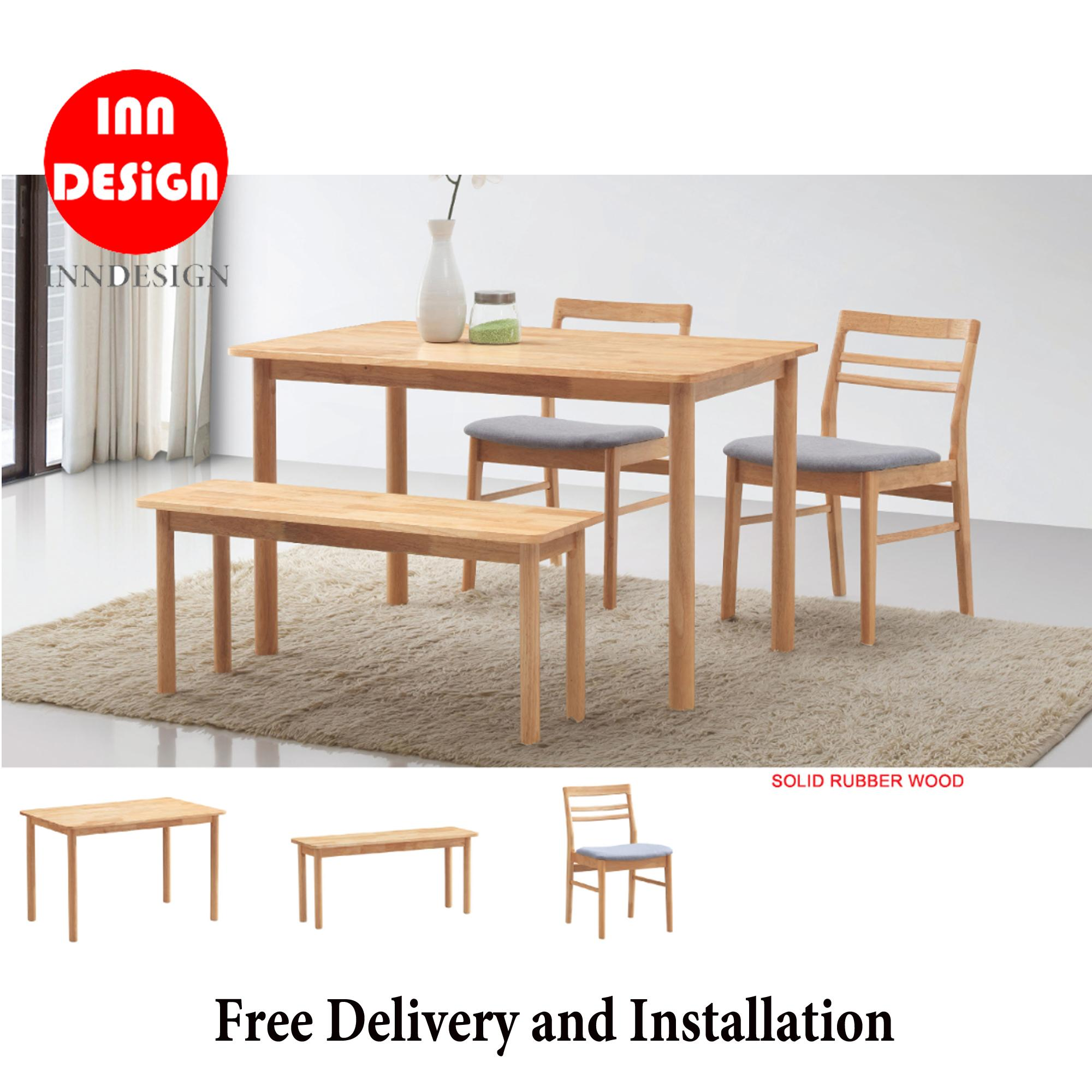 Aundrey 1+4 Dining Set With Bench (Fully Solid Wood) (Free Delivery and Installation)
