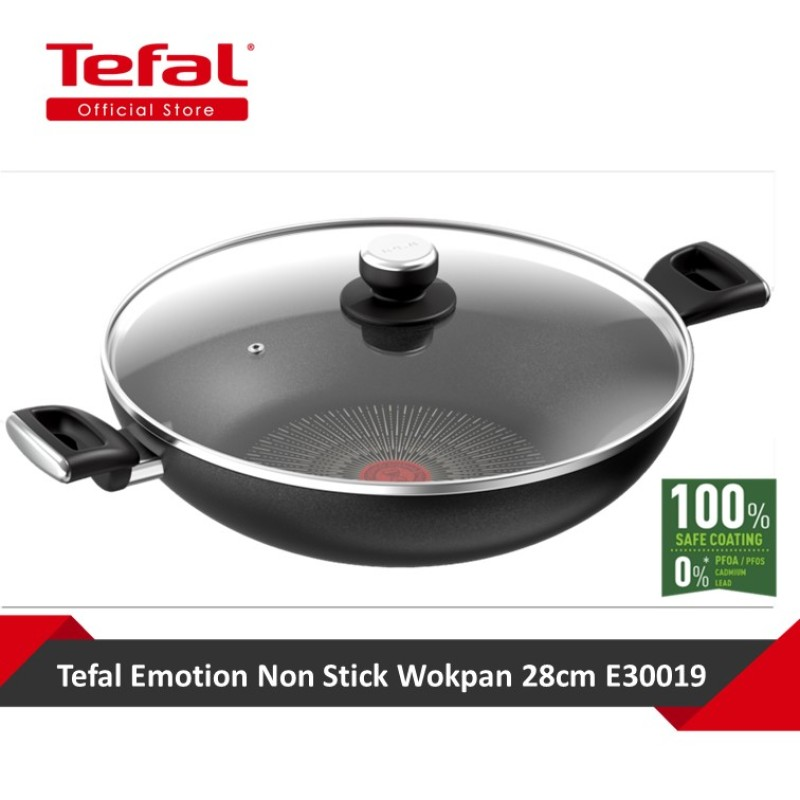 Tefal Unlimited Black IH Chinese Wok 36cm w/lid G2557593 Singapore