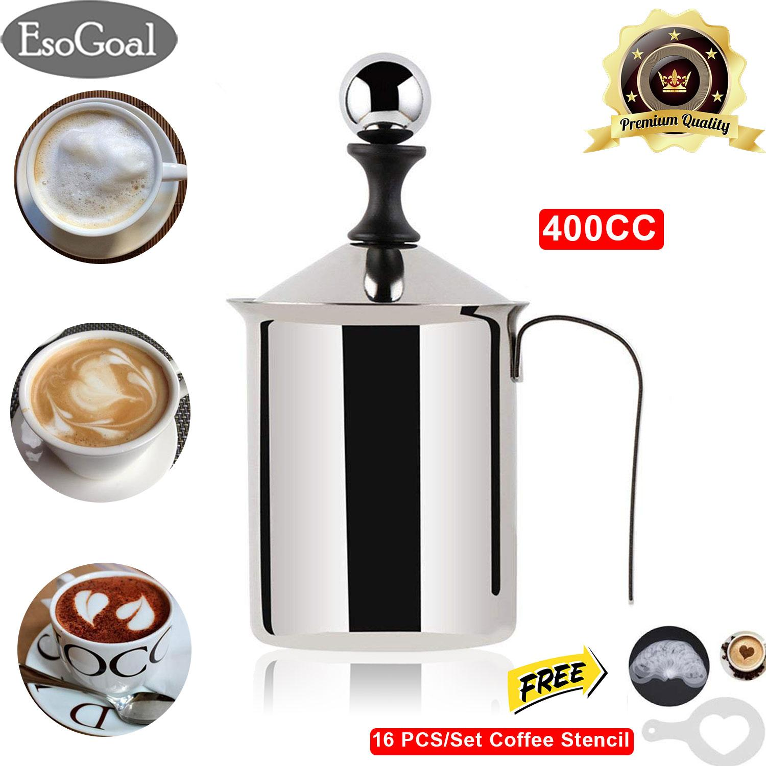 Esogoal Manual Milk Frother Foamer Stainless Steel Cappuccino Coffee Creamer Foam Pitcher With Handle And Lid Double Mesh 400cc/800cc By Esogoal.