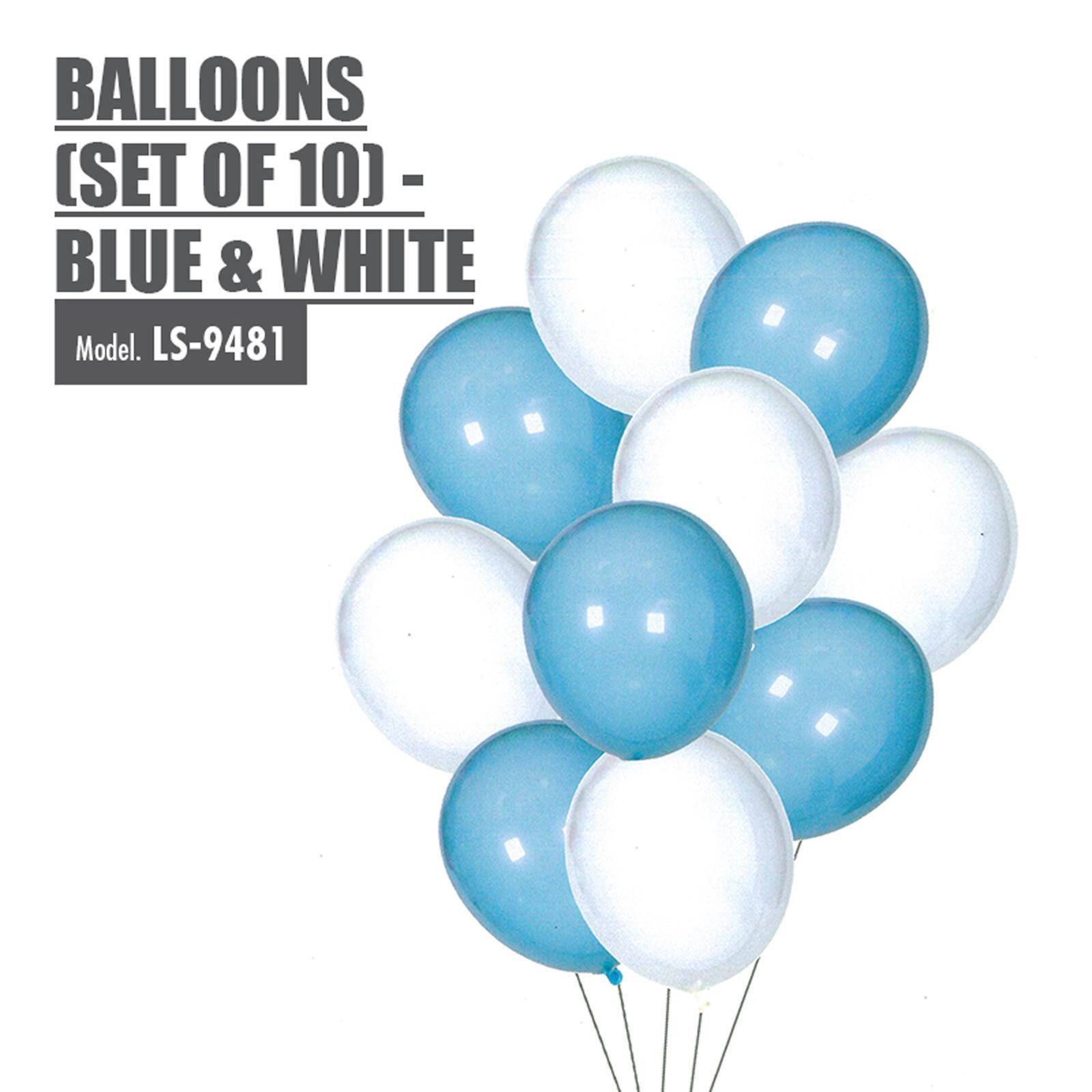 HOUZE Balloons (Set Of 10) - Blue And White