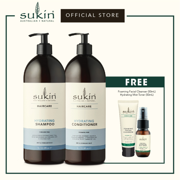 Buy Sukin Hydrating Shampoo (1L) + Hydrating Conditioner (1L) ) + FREE Foaming Facial Cleanser (50ml) + Hydrating Mist Toner (50ml) Singapore