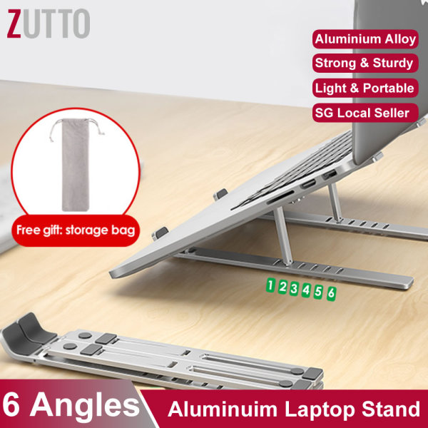 [SG Seller] ❤️ [New Item] Laptop Stand – foldable portable compact, 6-angle adjustable ventilation, aluminium alloy light weight non-slip, air flow cooling, notebook computer desktop holder riser bracket