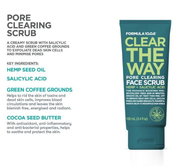 Buy 【EXFOLIATE DEAD SKIN CELL AND MINIMISE PORES 】 FORMULA 10.0.6 CLEAR THE WAY FACE SCRUB (100ml) Singapore
