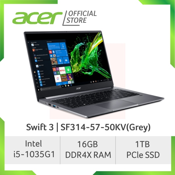 Acer Swift 3 SF314-57-50KV(Grey) Thin and light laptop with Latest 10th Gen Intel Processor with 16GB RAM