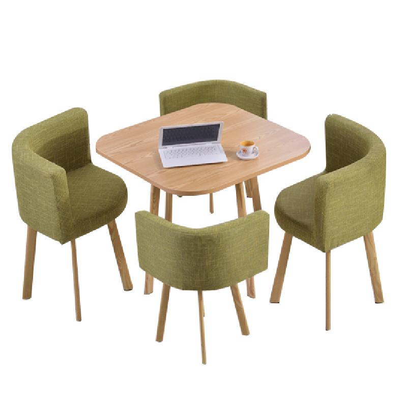 JIJI Spacious Coffee Dining Set (Free Installation) - Fabric Seat (1 Table W/ 4 Chairs) / Dining Furniture / Tables (SG)