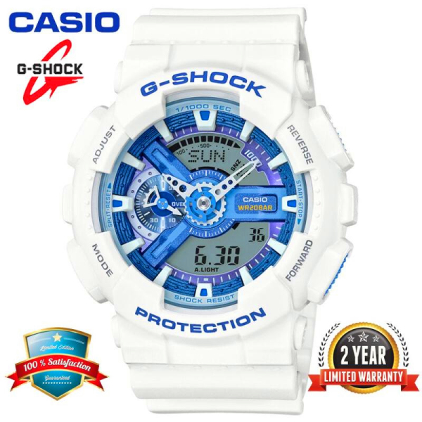 Original Casio G Shock GA110 Men Sport Watch Dual Time Display 200M Water Resistant Shockproof and Waterproof World Time LED Auto Light Sports Wrist Watches with 2 Year Warranty GA-110WB-7A White Blue (Ready Stock) Malaysia