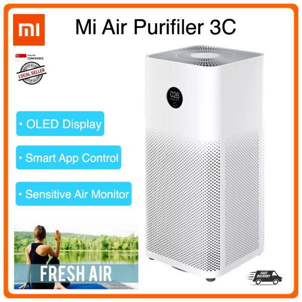 Xiaomi Air Purifier 3C GEN | Grey HEPA Filter | International Model Mijia MiHome APP Control | OLED Display | Remove 99.97% Odor Bacteria Work Best with Air Conditioner Air Fryer Cooler Standing Fan Humidifier Dehumidifier Singapore