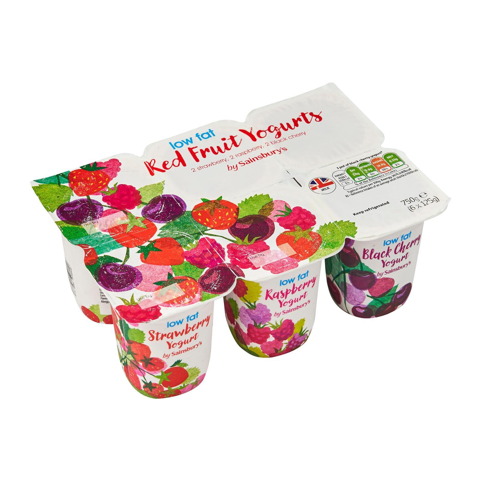 Sainsbury's Low Fat Red Fruits Yoghurt 6S