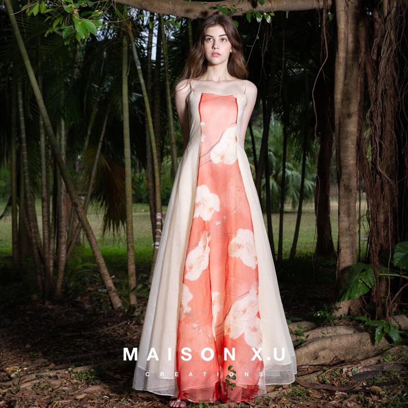 Japan Silk Sakura Techa Fabric 100% Real Silk 【maison X. U] In France High Designer A Long Skirts.