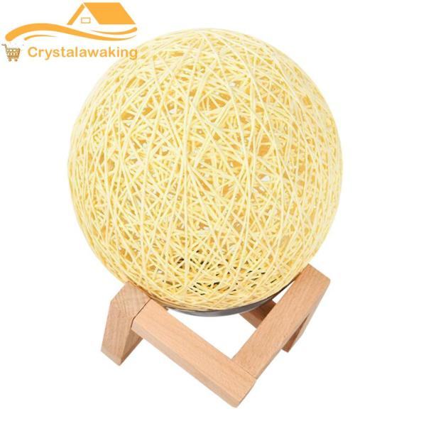 Cane Ball LED Night Light with Bracket Bamboo Rattan Energy Save Lamp Home Decorative Lamp Lighting