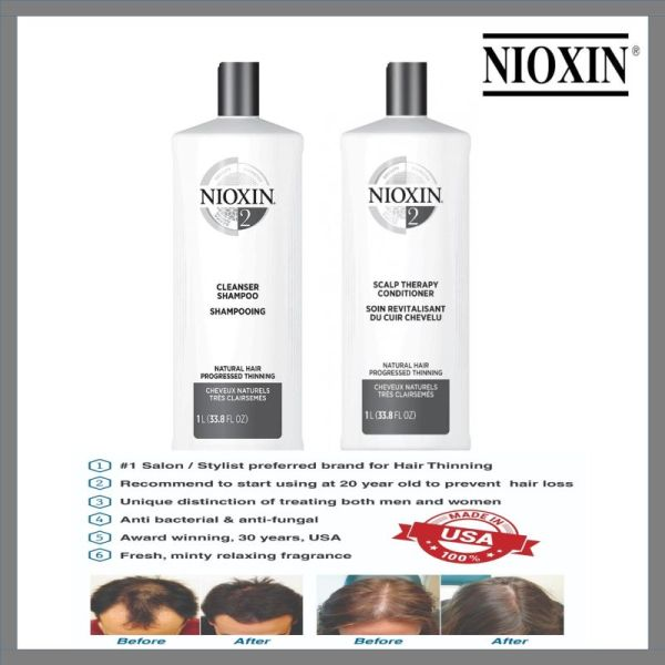 Buy Nioxin Salon Professional System 2 Hair Shampoo+System 2 Scalp Therapy Revitalizing Conditioner 1000ml SET Singapore