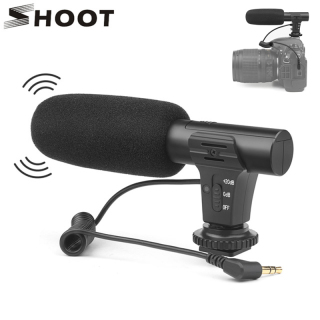 SHOOT XT-451 Portable Condenser Stereo Microphone Mic with 3.5mm Jack Hot Shoe Mount Microfone for Canon Sony Nikon DSLR Camera Camcorder thumbnail
