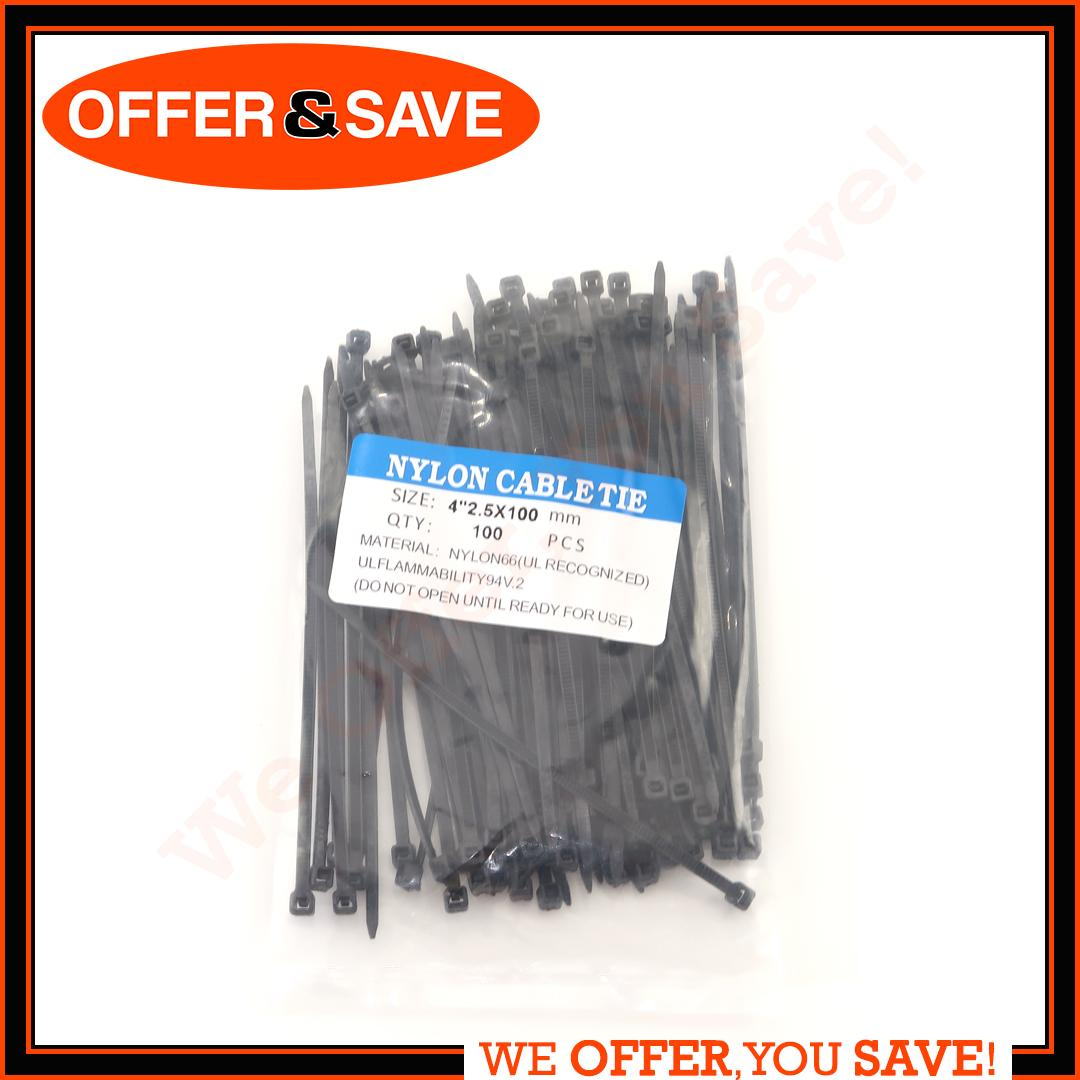 100pcs Nylon Cable Zip Ties Cable tie with Self-Locking UV Resistant Heavy Duty 100mm
