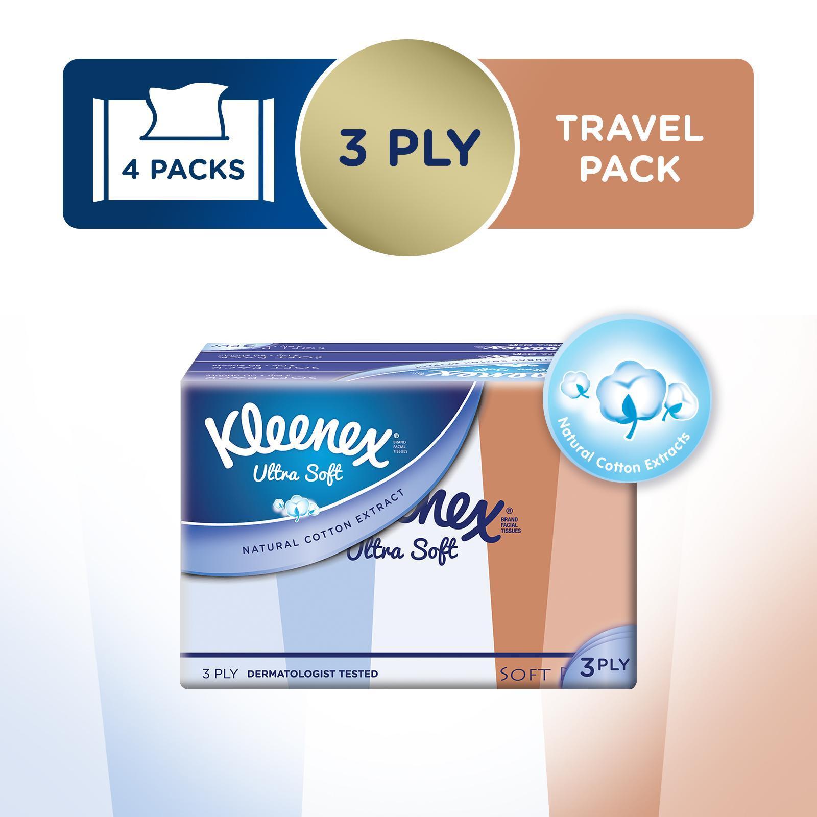 Kleenex UltraSoft3-PlyTissuesLifestyleSoftPack(PackagingDesignMayVary)