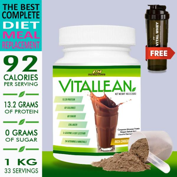 Buy Vital Lean  VitalLean (Slimming / Meal Replacement Shake / Keto Diet), 1kg Halal 13g Protein, 92 Calories, 0g Sugar, 33 Servings with L-Leucine, Soy Lecithin, 24 Vitamins & Minerals (Chocolate) + FREE 3 In 1 Vital Whey Shaker vs Amway Nutrilite Bodykey Singapore