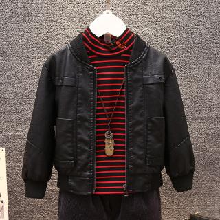 2021 Thu Đông Mẫu Mới Phiên Bản Hàn Quốc Học Sinh Tiểu Học Nam Tính Áo Da Bé Trai Ngắn Đầu Máy Áo Jacket Thông Dụng Ngắn Áo Khoác Thủy Triều thumbnail