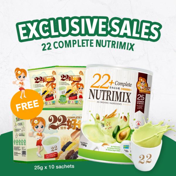 Buy [EXCLUSIVE SALES] 22+ Complete Nutrimix (Organic Avocado) - 750g + Wheatgrass 25g x 10s Singapore